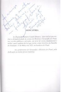 Geografia e História do Piauí para estudantes, de Adrião Neto, dedicatória 001