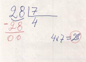 Divisão de números na chave 1