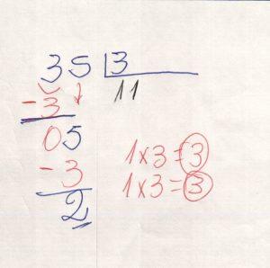Divisão de números na chave 2