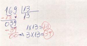 Divisão de números na chave 5