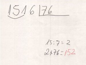 Divisão de números na chave 7
