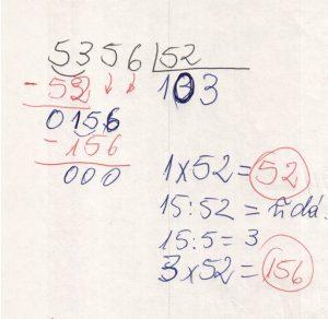 Divisão de números na chave 9