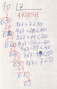 Divisão decimal periódica simples 7