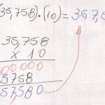 Matemática. Aritmética, multiplicação de números decimais por múltiplos e submúltiplo de dez.