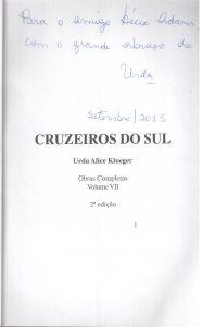 Cruzeiros do Sul, de Urda Alice Klueger, dedicatória. 001